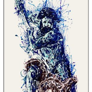 Poseidon painting on plexiglass by Marco Pettinari