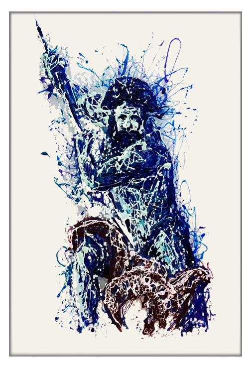 Poseidon painting on plexiglass by Marco Pettinari